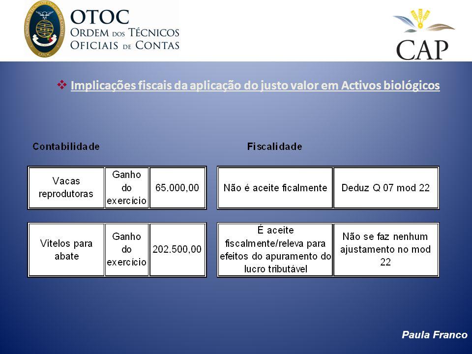 Implicações fiscais da aplicação do justo valor em Activos biológicos