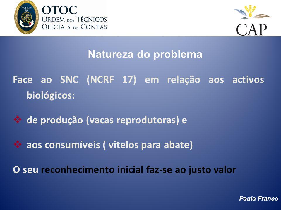 Natureza do problema Face ao SNC (NCRF 17) em relação aos activos biológicos: de produção (vacas reprodutoras) e.