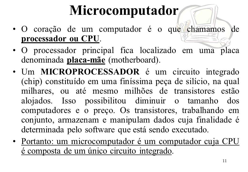 Microcomputador O coração de um computador é o que chamamos de processador ou CPU.