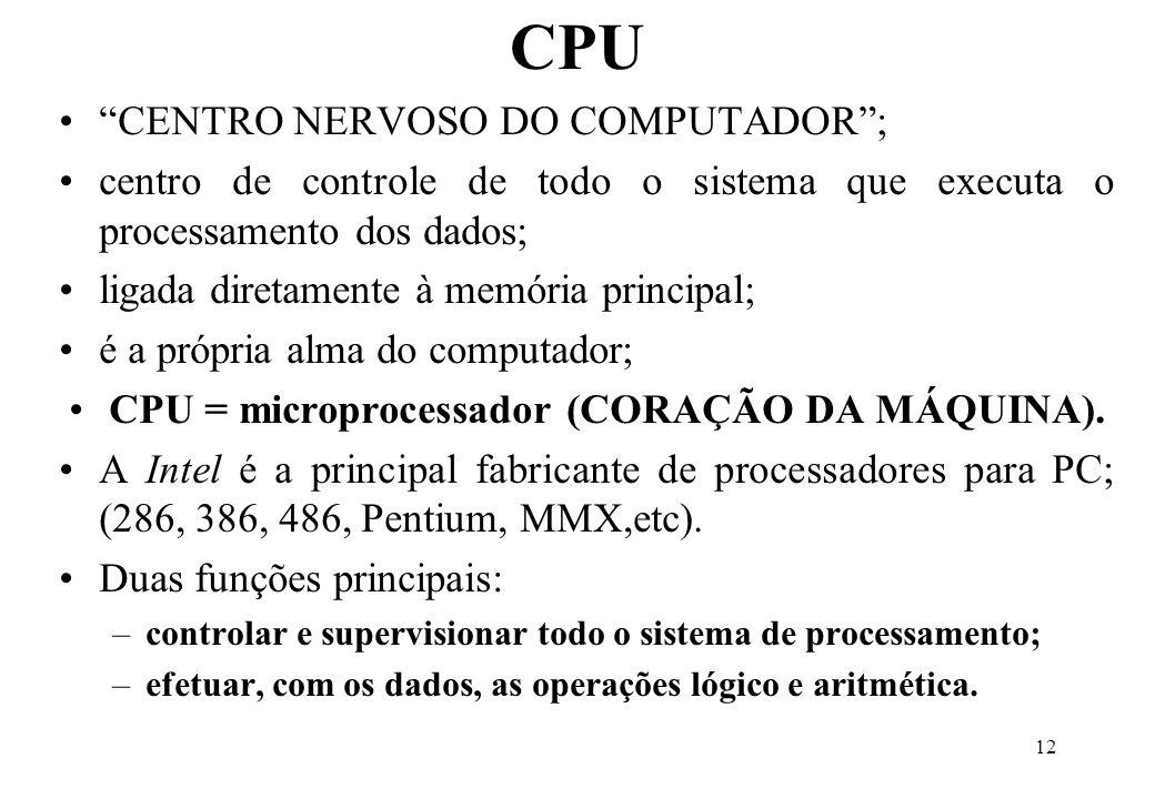 CPU = microprocessador (CORAÇÃO DA MÁQUINA).