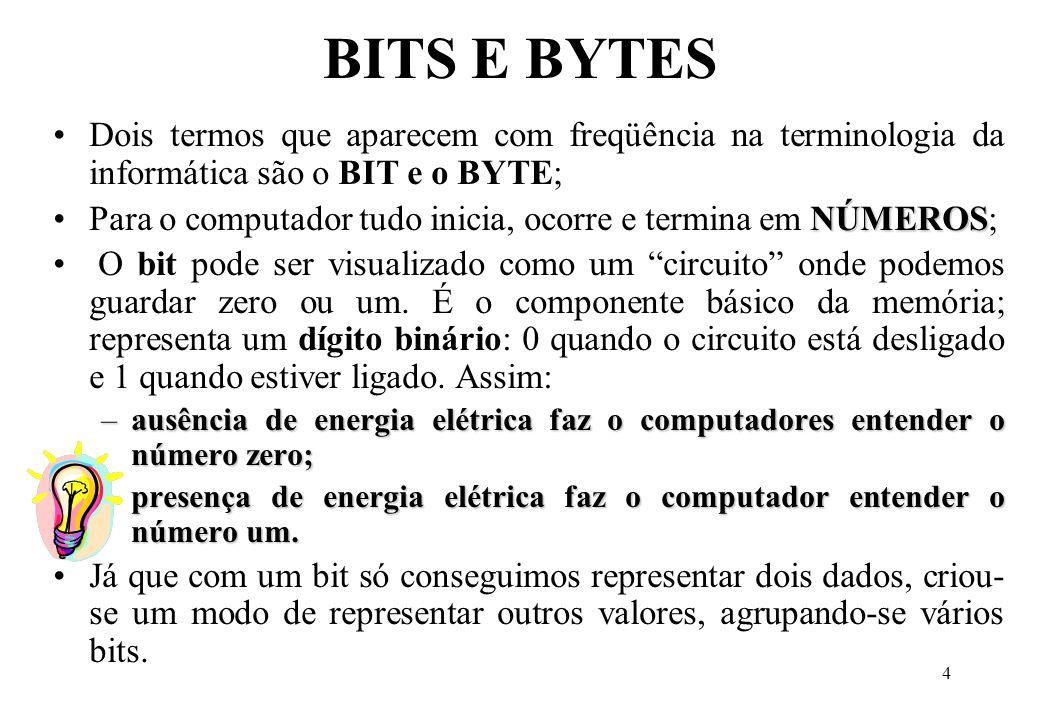 BITS E BYTES Dois termos que aparecem com freqüência na terminologia da informática são o BIT e o BYTE;
