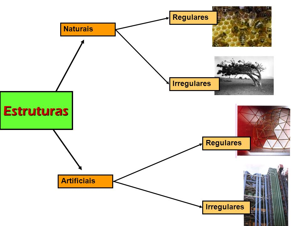 Estruturas Regulares Naturais Irregulares Regulares Artificiais