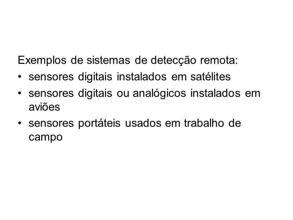 Exemplos de sistemas de detecção remota:
