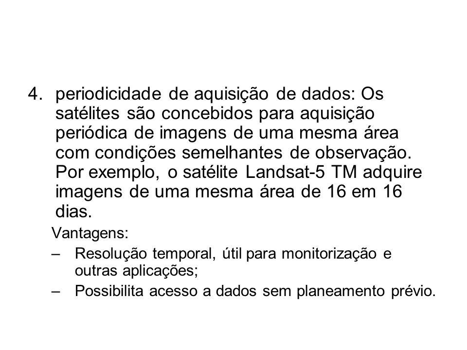 periodicidade de aquisição de dados: Os satélites são concebidos para aquisição periódica de imagens de uma mesma área com condições semelhantes de observação. Por exemplo, o satélite Landsat-5 TM adquire imagens de uma mesma área de 16 em 16 dias.