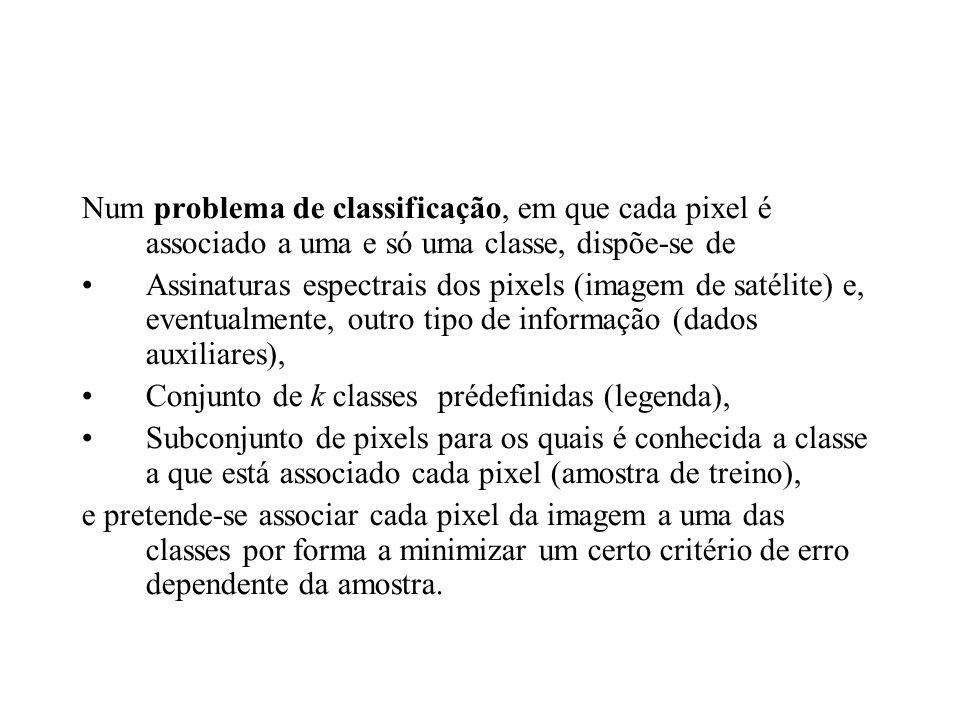 Num problema de classificação, em que cada pixel é associado a uma e só uma classe, dispõe-se de