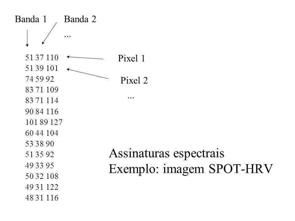 Assinaturas espectrais Exemplo: imagem SPOT-HRV