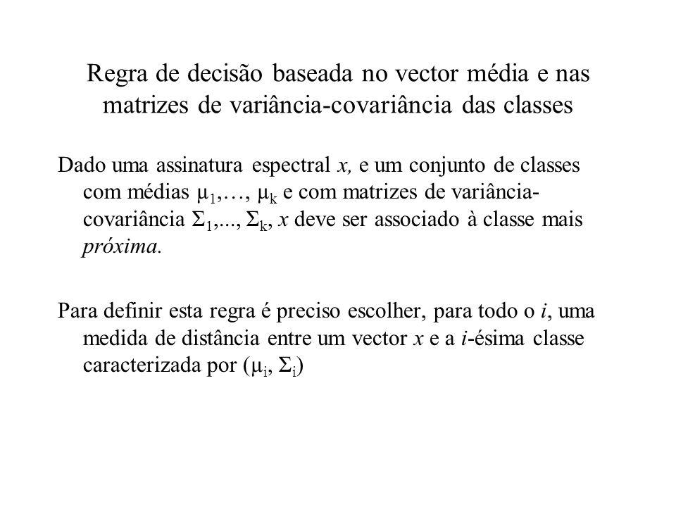 Regra de decisão baseada no vector média e nas matrizes de variância-covariância das classes