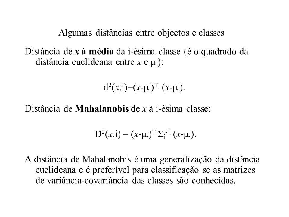Algumas distâncias entre objectos e classes