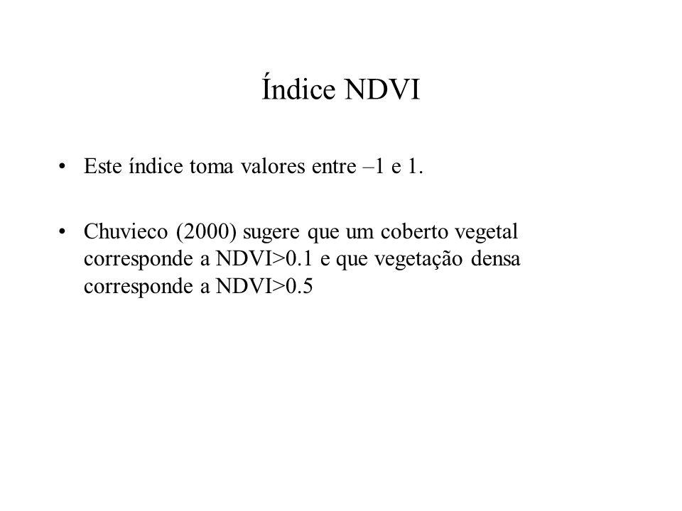 Índice NDVI Este índice toma valores entre –1 e 1.