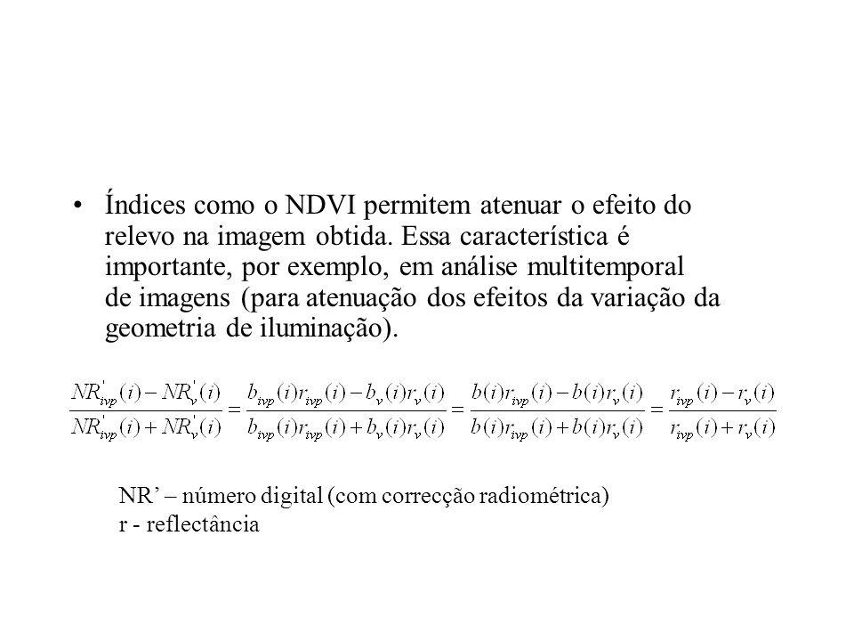 Índices como o NDVI permitem atenuar o efeito do relevo na imagem obtida. Essa característica é importante, por exemplo, em análise multitemporal de imagens (para atenuação dos efeitos da variação da geometria de iluminação).