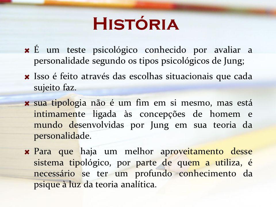 História É um teste psicológico conhecido por avaliar a personalidade segundo os tipos psicológicos de Jung;