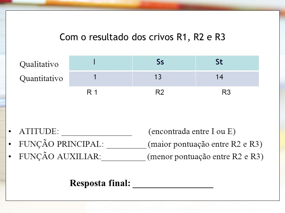 Com o resultado dos crivos R1, R2 e R3
