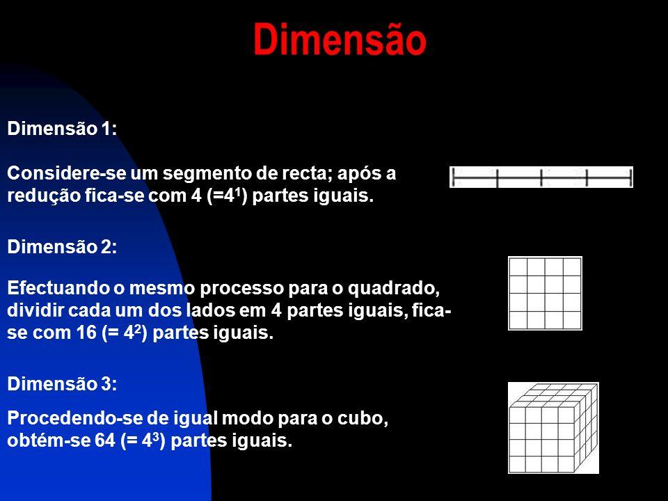 Dimensão Dimensão 1: Considere-se um segmento de recta; após a redução fica-se com 4 (=41) partes iguais.