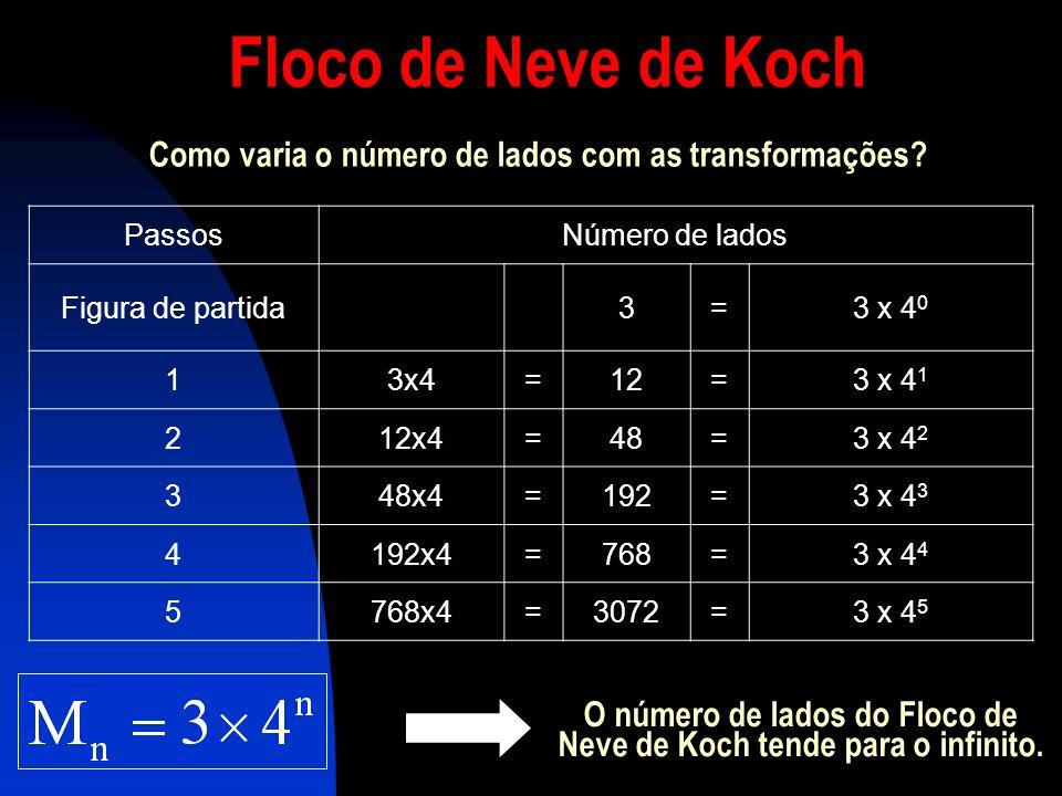 O número de lados do Floco de Neve de Koch tende para o infinito.