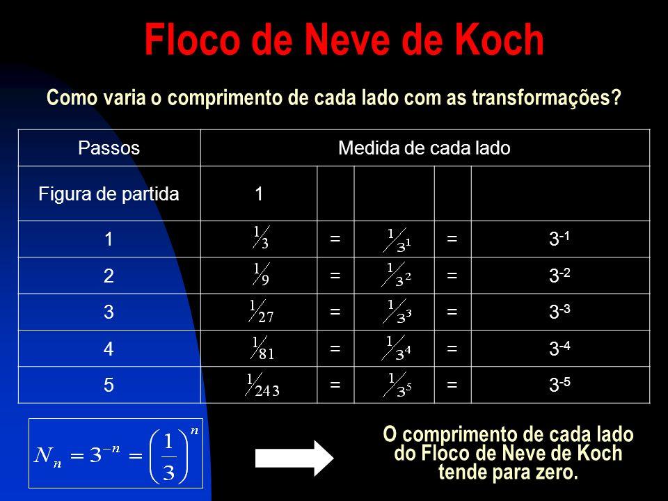 O comprimento de cada lado do Floco de Neve de Koch tende para zero.