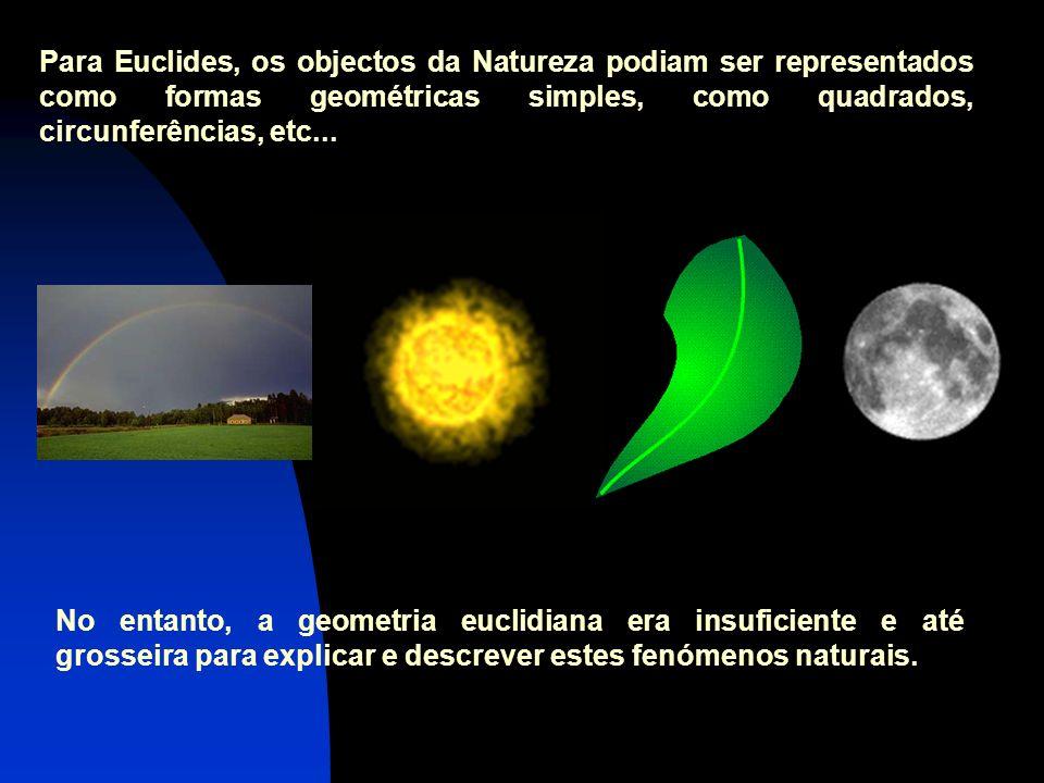 Para Euclides, os objectos da Natureza podiam ser representados como formas geométricas simples, como quadrados, circunferências, etc...