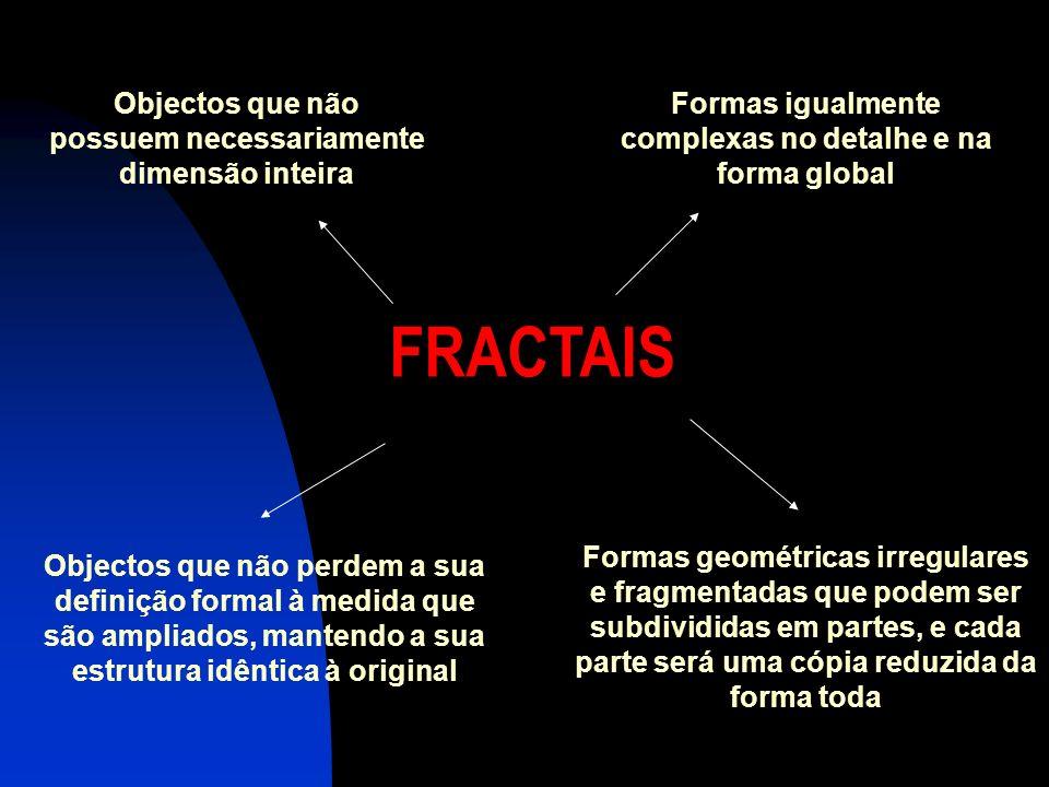 FRACTAIS Objectos que não possuem necessariamente dimensão inteira