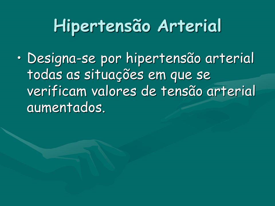 Hipertensão Arterial Designa-se por hipertensão arterial todas as situações em que se verificam valores de tensão arterial aumentados.