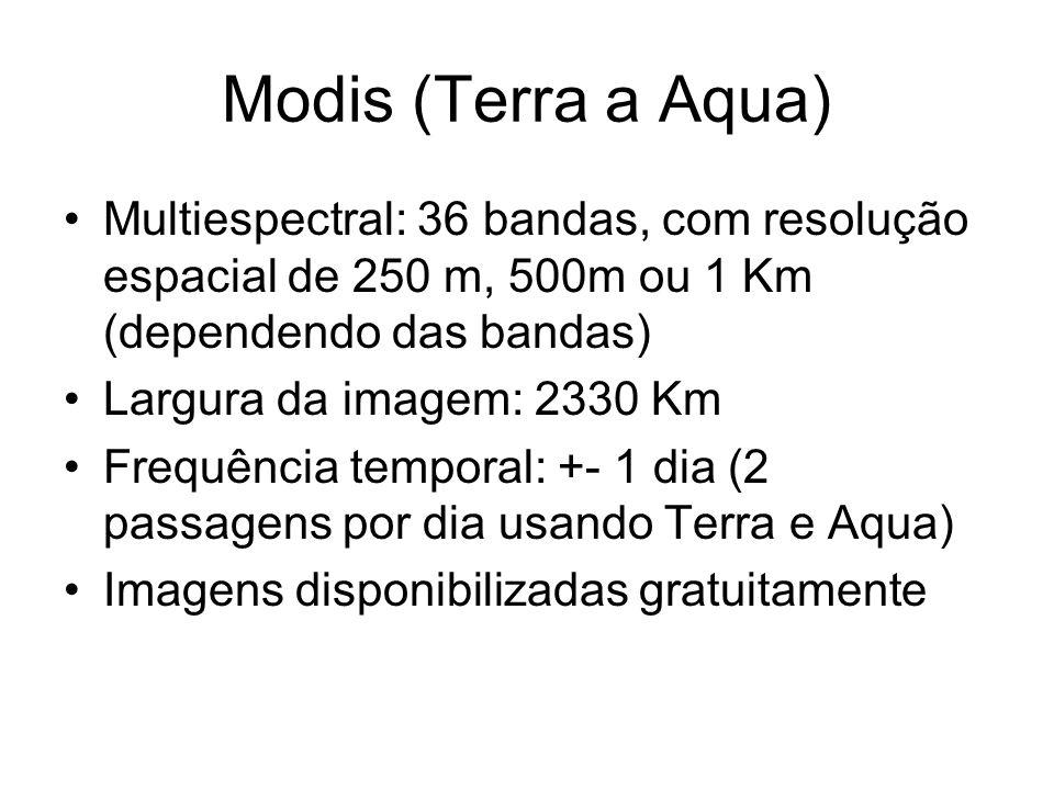 Modis (Terra a Aqua)Multiespectral: 36 bandas, com resolução espacial de 250 m, 500m ou 1 Km (dependendo das bandas)