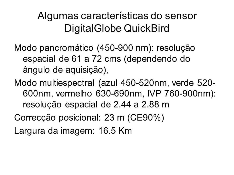 Algumas características do sensor DigitalGlobe QuickBird