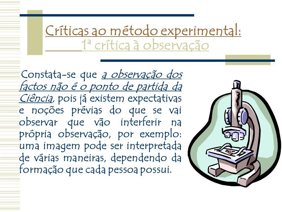 Críticas ao método experimental: 1ª crítica à observação