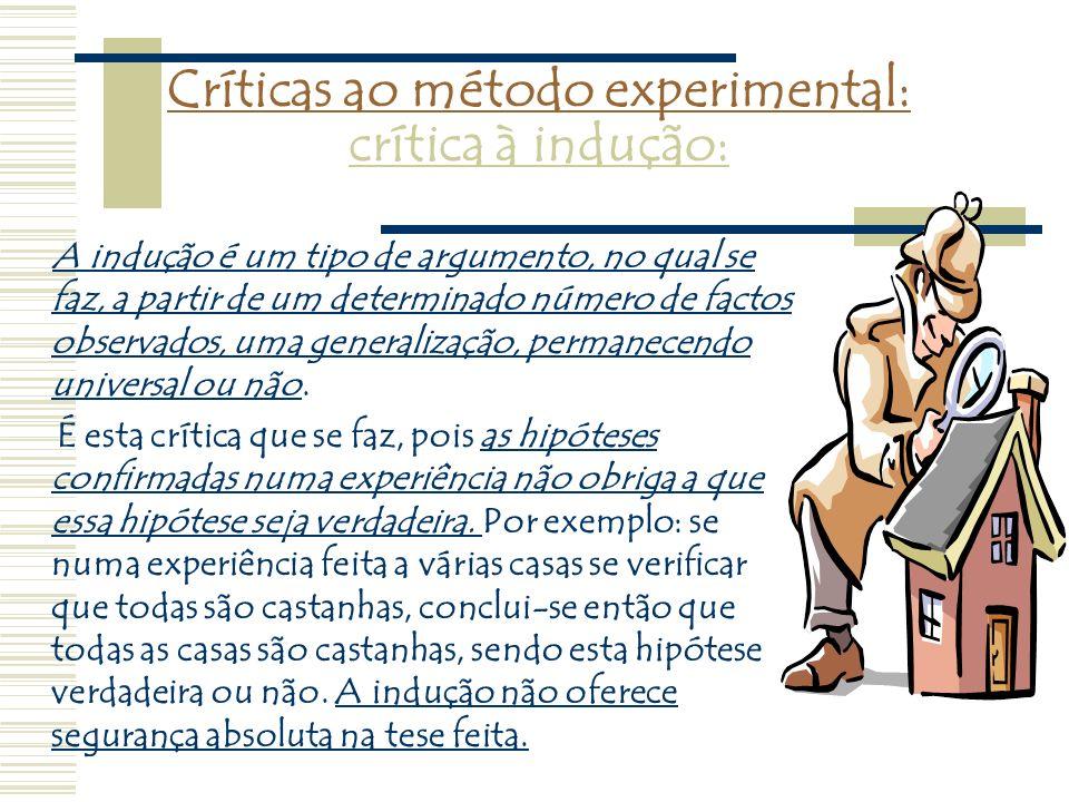Críticas ao método experimental: crítica à indução: