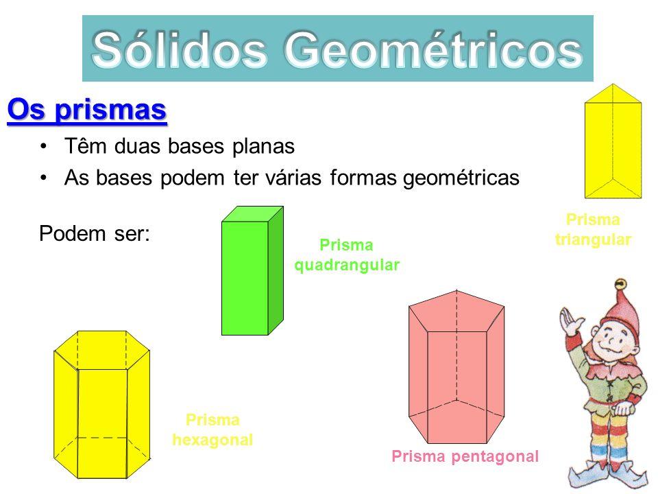 Sólidos Geométricos Os prismas Têm duas bases planas