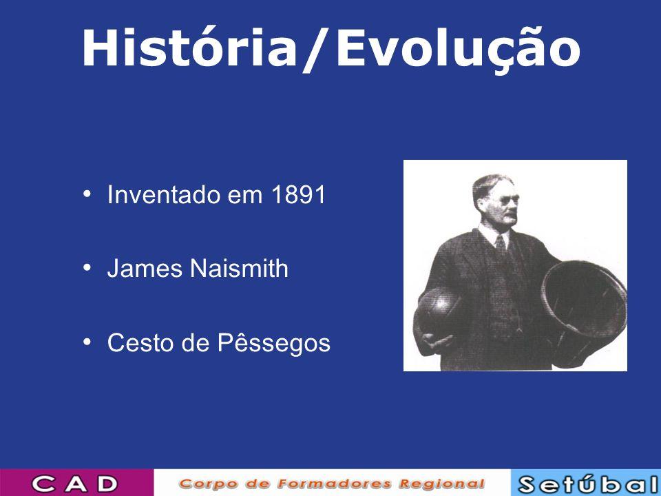 História/Evolução Inventado em 1891 James Naismith Cesto de Pêssegos