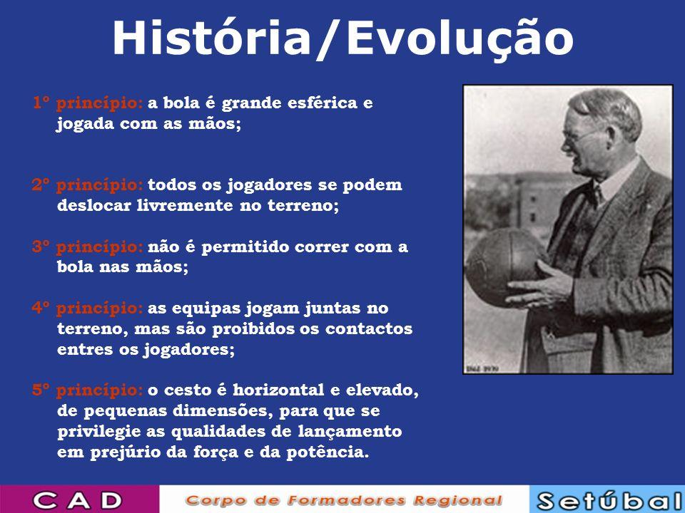 História/Evolução 1º princípio: a bola é grande esférica e jogada com as mãos;