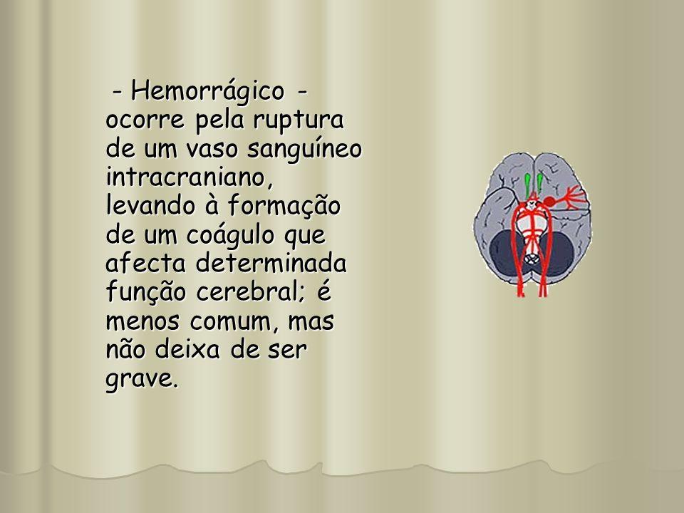 - Hemorrágico - ocorre pela ruptura de um vaso sanguíneo intracraniano, levando à formação de um coágulo que afecta determinada função cerebral; é menos comum, mas não deixa de ser grave.