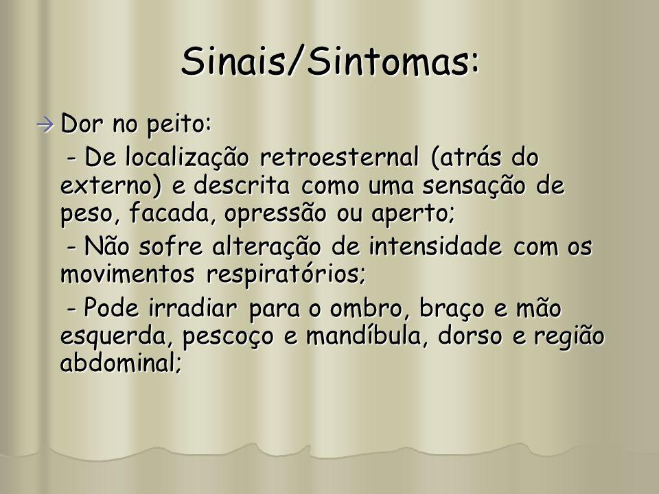 Sinais/Sintomas: Dor no peito: