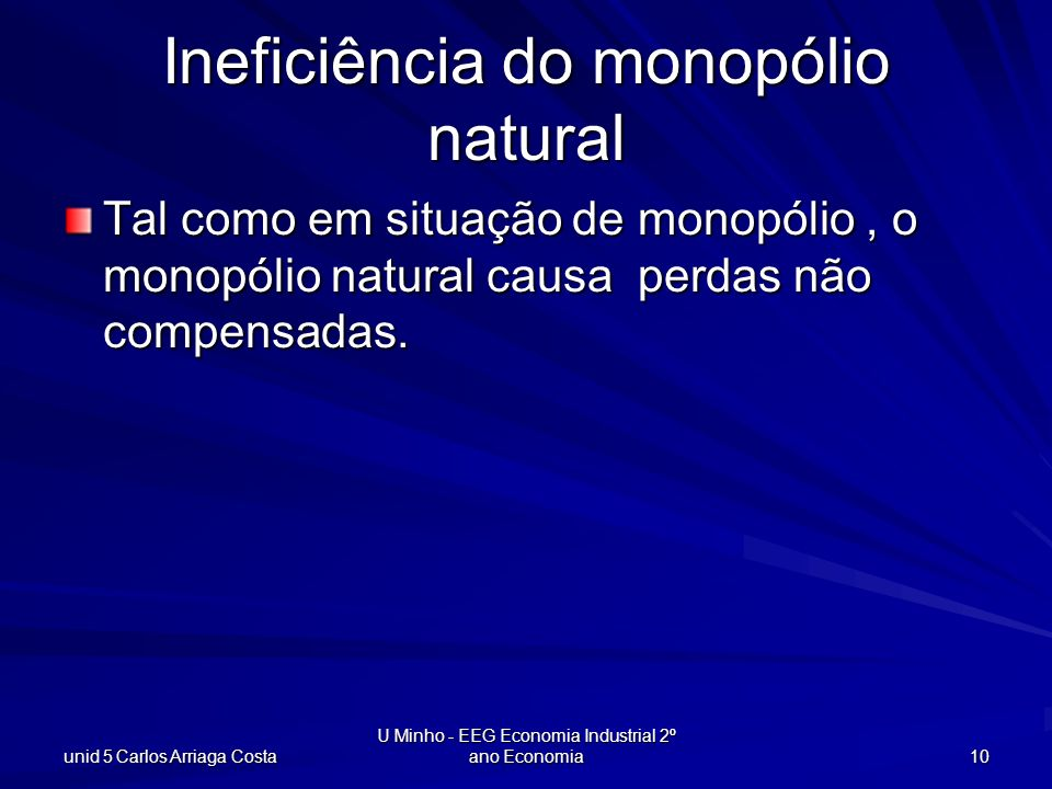 Ineficiência do monopólio natural