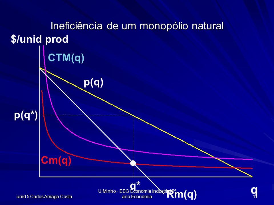 Ineficiência de um monopólio natural