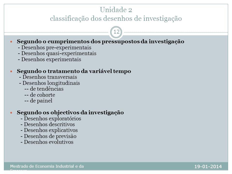 Unidade 2 classificação dos desenhos de investigação