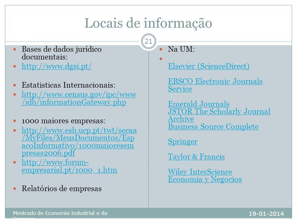 Locais de informação Bases de dados jurídico documentais: