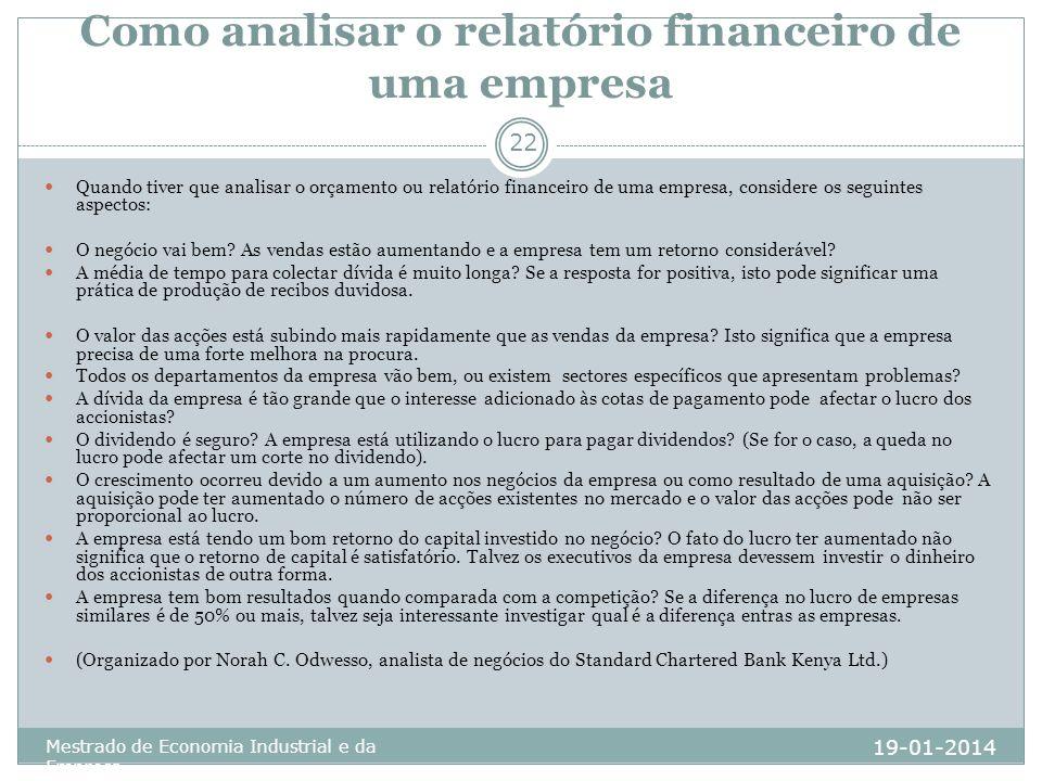 Como analisar o relatório financeiro de uma empresa