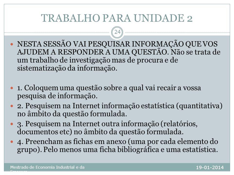 TRABALHO PARA UNIDADE 2