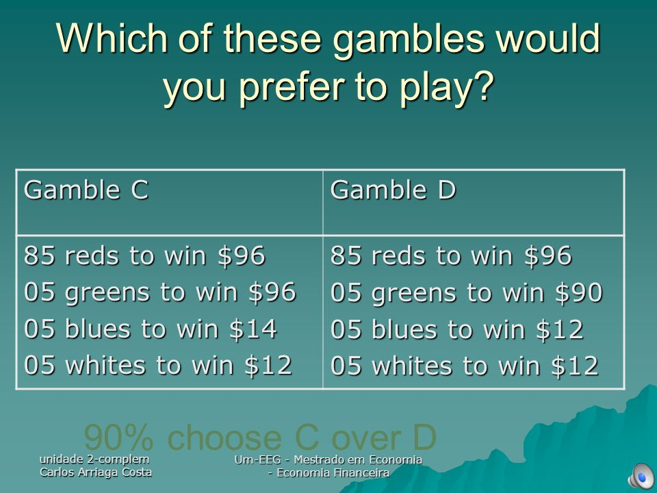 Which of these gambles would you prefer to play