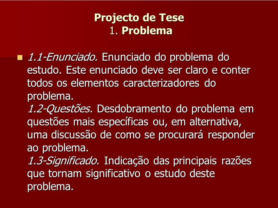 Projecto de Tese 1. Problema