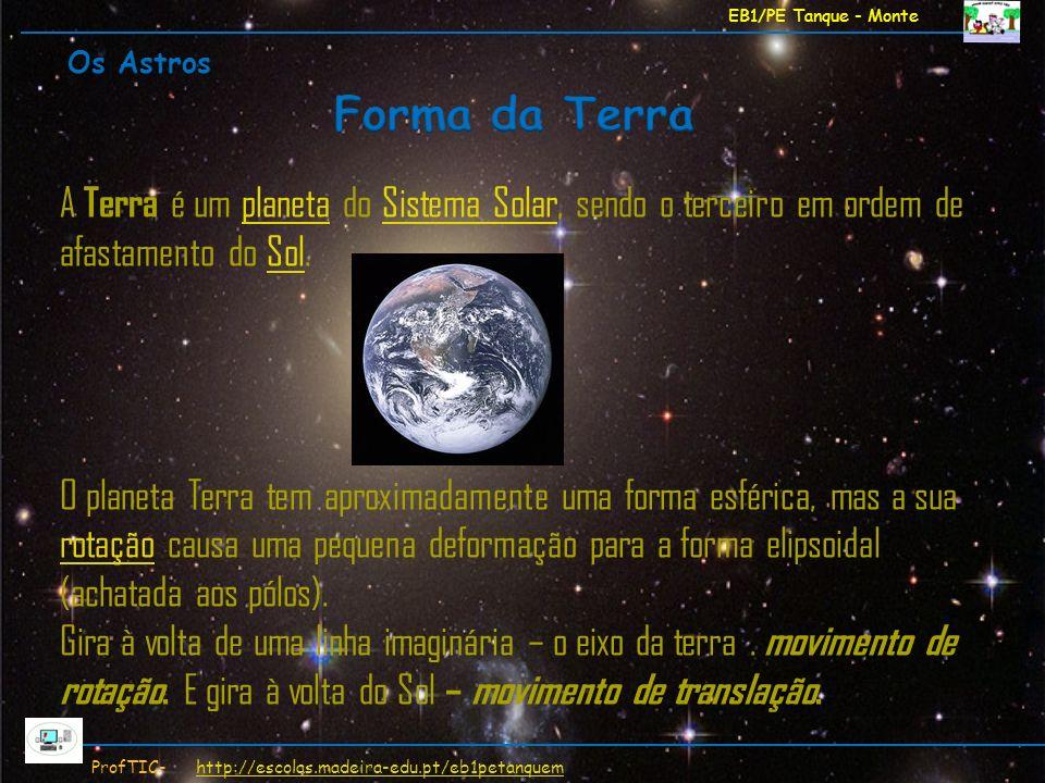 EB1/PE Tanque - Monte Os Astros. Forma da Terra. A Terra é um planeta do Sistema Solar, sendo o terceiro em ordem de afastamento do Sol.