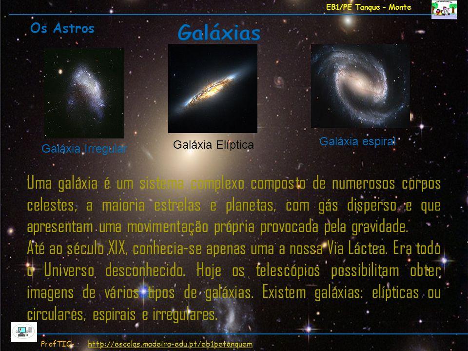 EB1/PE Tanque - Monte Os Astros. Galáxias. Galáxia espiral. Galáxia Elíptica. Galáxia Irregular.