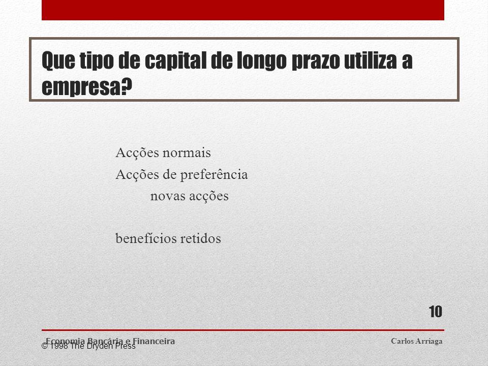 Que tipo de capital de longo prazo utiliza a empresa