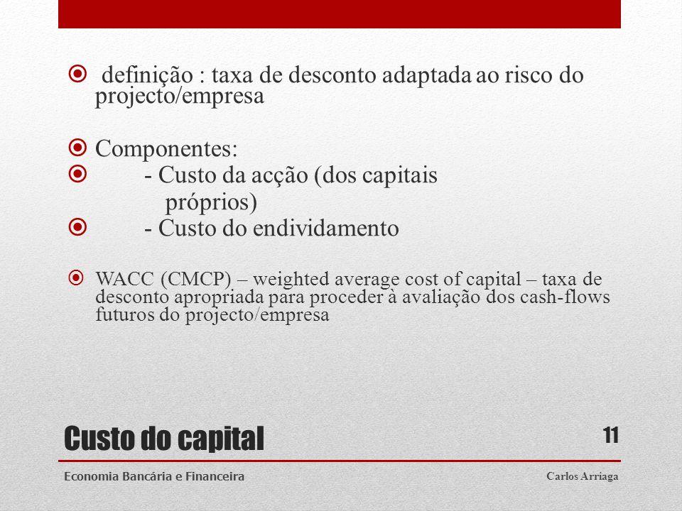 definição : taxa de desconto adaptada ao risco do projecto/empresa
