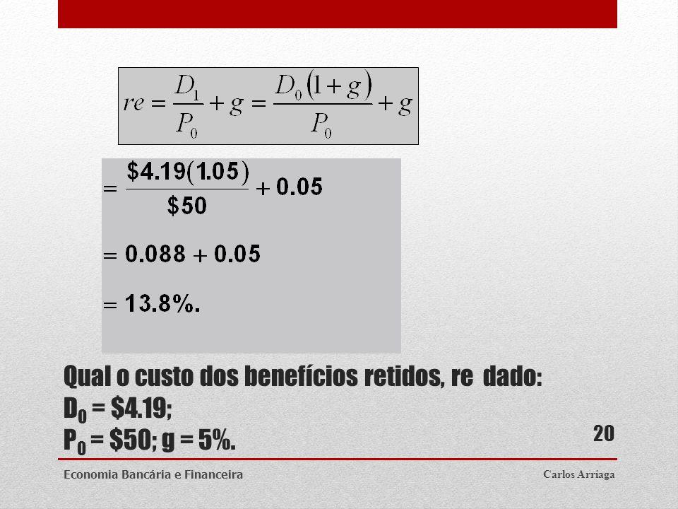 Qual o custo dos benefícios retidos, re dado: D0 = $4