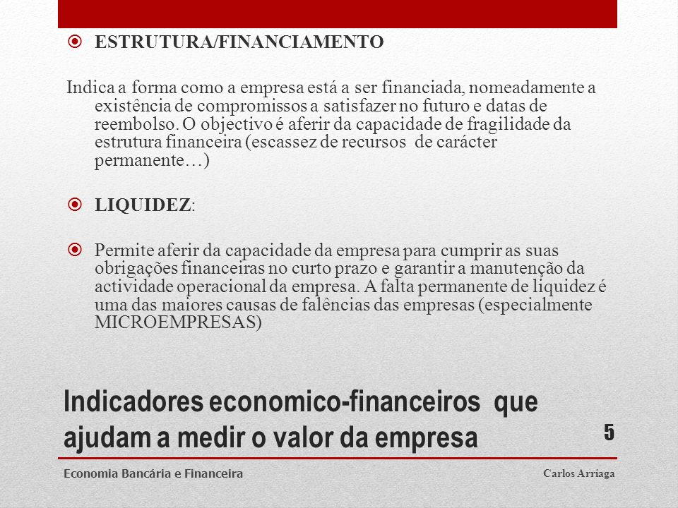 ESTRUTURA/FINANCIAMENTO