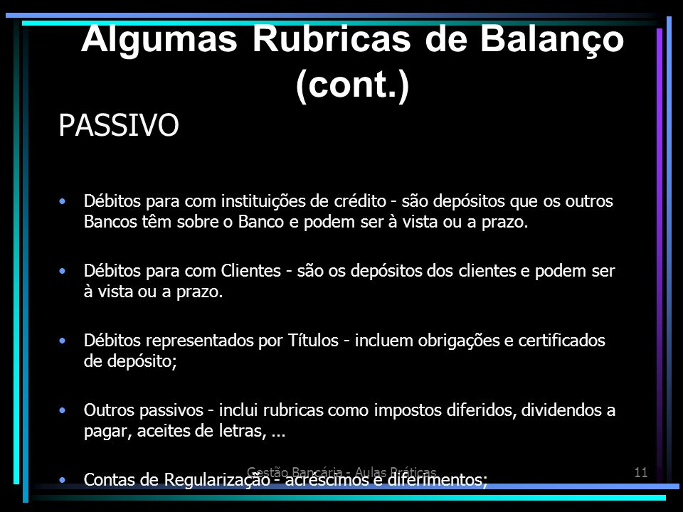 Algumas Rubricas de Balanço (cont.)