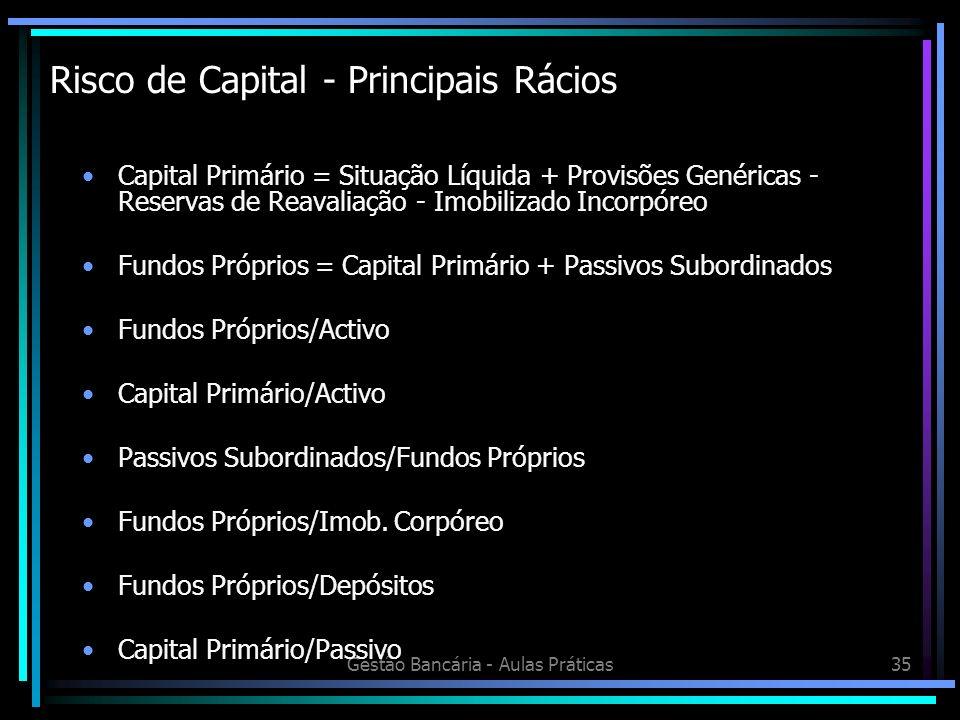 Risco de Capital - Principais Rácios