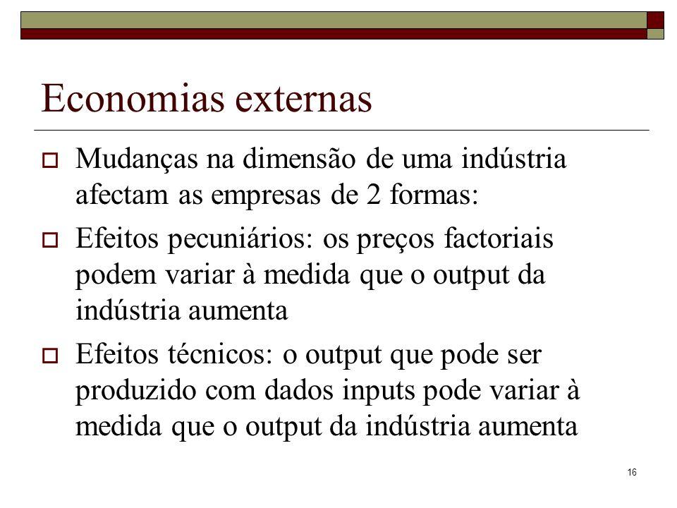 Economias externas Mudanças na dimensão de uma indústria afectam as empresas de 2 formas: