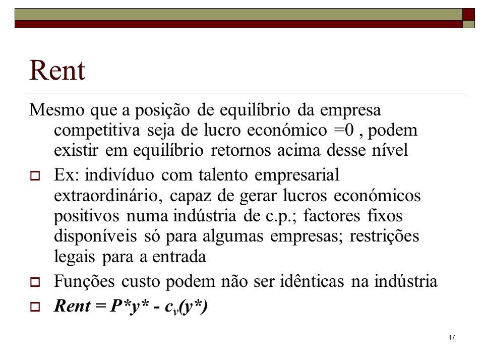 Rent Mesmo que a posição de equilíbrio da empresa competitiva seja de lucro económico =0 , podem existir em equilíbrio retornos acima desse nível.
