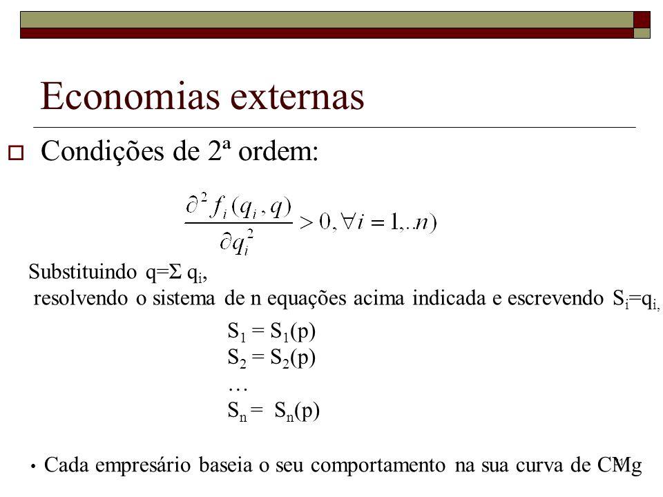 Economias externas Condições de 2ª ordem: Substituindo q=Σ qi,